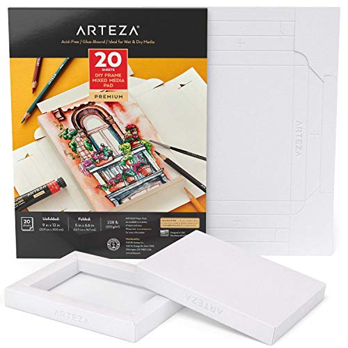 Arteza Papel de lienzo para pintar multimedia, con marco, (12,7x16,7 cm), 20 hojas, 370 GSM, sin ácidos, bloc encolado, papel de pulpa de madera, lienzos para pintar con diversos medios mixtos