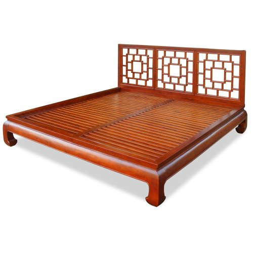 ChinaFurnitureOnline Elmwood Platform Bed, Ming Style Lattice Headboard King Size Honey Finish