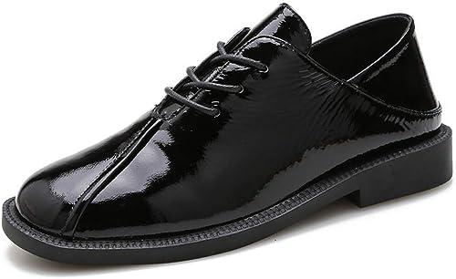 QAZ zapatos de Cuero de Las mujeres, Cuero Boca Profunda zapatos de mujer Lazy Lok Fook Cabeza Cuadrada británica Viento cómodo zapatos de Charol de Cuero