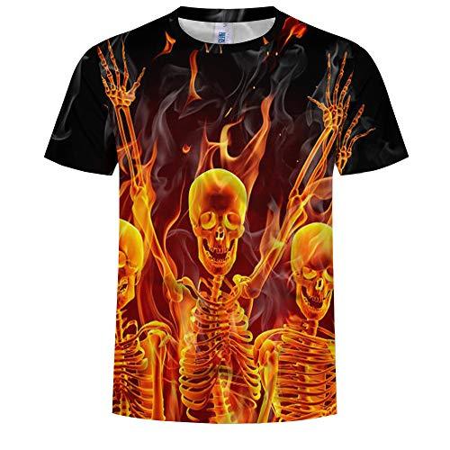 Unisex 3D Printed Zomer Casual T-shirt met korte mouwen Tees Fire Demon 3D Print Crew Neck T-shirt met korte mouwen Zomer Heren Coltrui Top