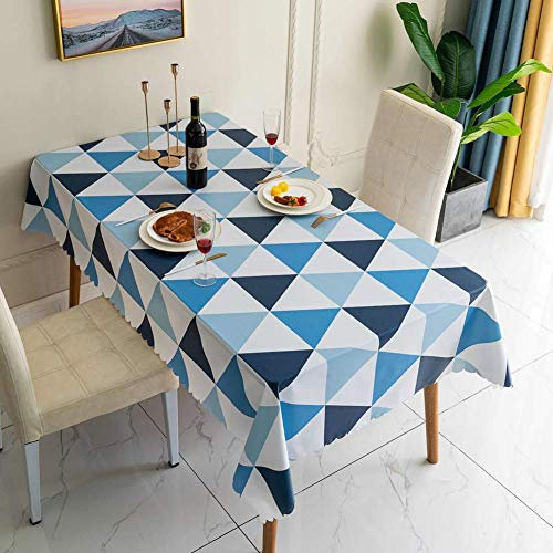 mxjxj Runde wasserdichte Tischdecken Wischen Sie saubere PVC-Tischabdeckung Nordische Dreieck-Tischdecke Geeignet für Innen- und Außen-Dekoration (Color : Blue, Size : 100+#215;160cm)