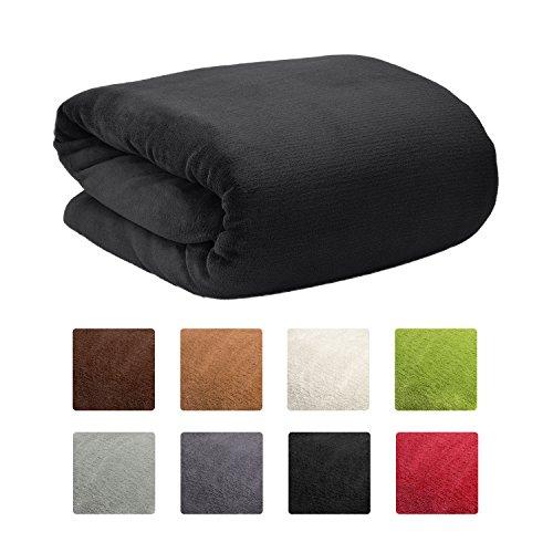 Beautissu Manta de sofá y Cama XXL Aurelia - Suave y cálida 220x240cm Microfibra Forro Polar Coral ÖKO-Tex Negro