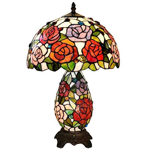 Lámpara De Mesa De Estilo Tiffany Lámpara De Cristal De Colores Lámpara De Resina Hecho A Mano Rosa Floral Patrón Lámpara De Mesa Decorativa