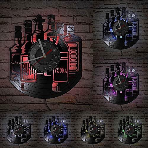 GVSPMOND Reloj de Pared Decorativo, Botella de Vino, Silueta, Reloj Colgante de Pared, Barra de hogar, Reloj Decorativo Colgante silencioso