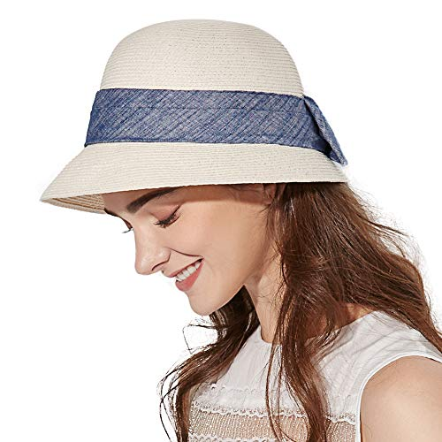 Siggi UPF50 - Sombreros de paja plegable para mujer - Blanco - Talla única