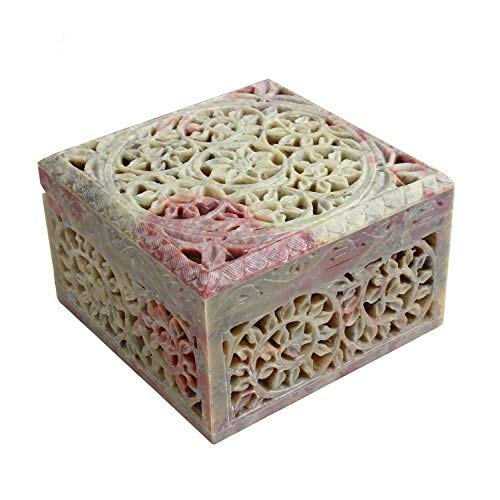 STORE INDYA Mano Craved Decorative Pietra Bagagli Keepsake Box con reticol.