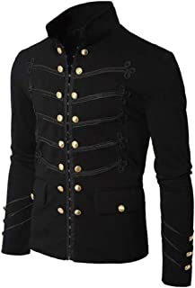 Men Embroider Long Sleeve High Neck Jacket Vintage Gothic Steampunk Victorian Uniform Coat Outwear by Lowprofile