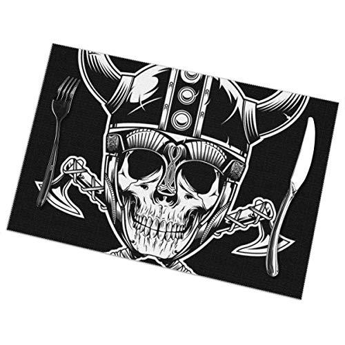 Tommy Warren Tischsets für Esstisch, Wikinger Schädel Krieger Emblem Vektor Illustration Tisch Mat.-Nr.