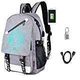 Sqodok Anime Luminous Backpack Waterproof, College Charging Bookbag with USB Charging Port and Lock, Anti-theft Travel Daypack 15.6inch Laptop Bag for School