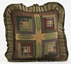 VHC Brands Rustic & Lodge Pillows & Throws-Tea Cabin Green Quilted 16 x 16 Pillow, Moss