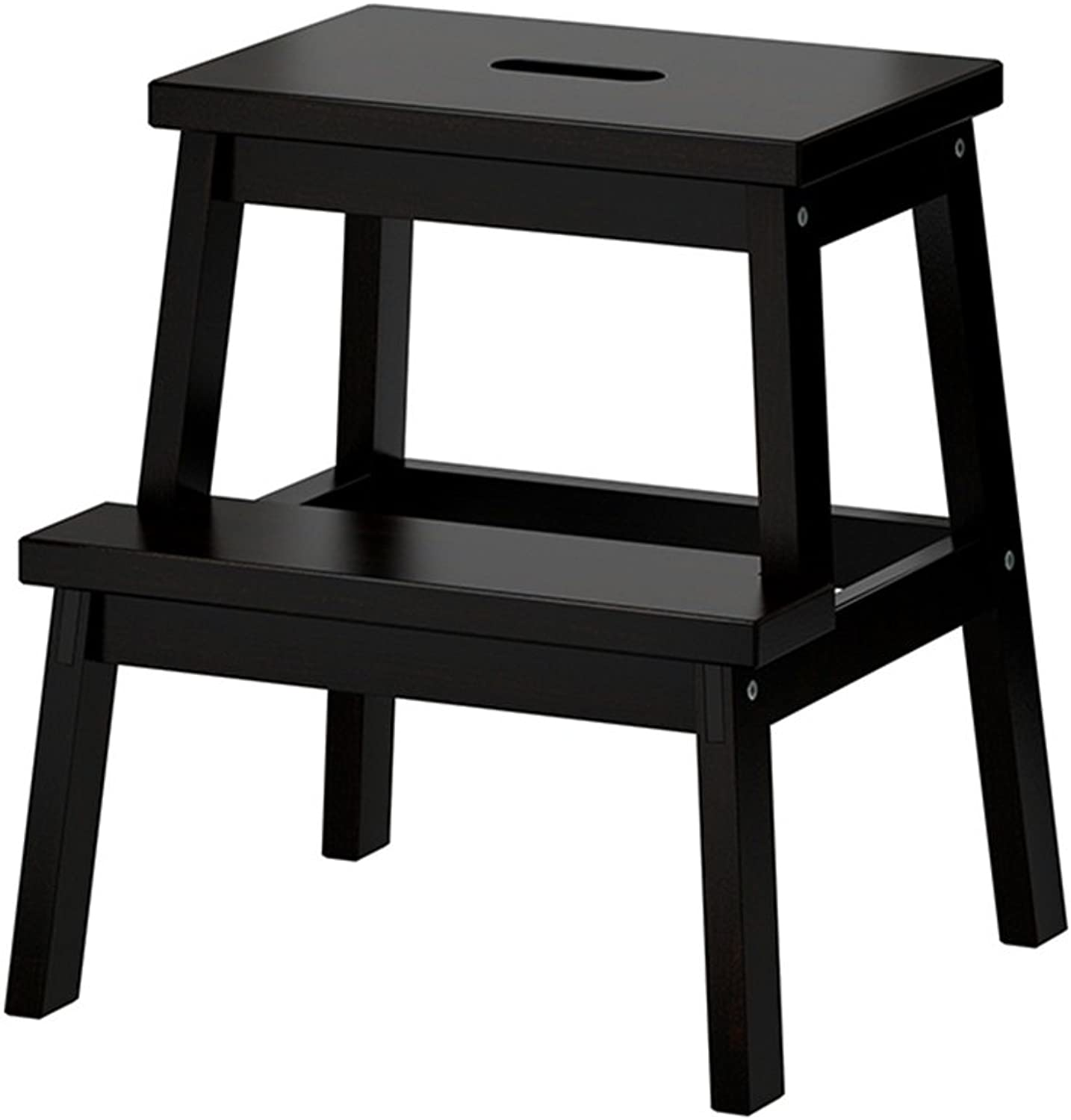 Solid Wood Ladder Stool Multifunctional Portable Stool Foot Stools Changing shoes Folding Chairs with 2 Steps,Black