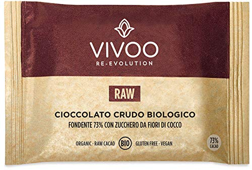 Vivoo Cioccolato Crudo Biologico Fondente 73% con Zucchero da Fiori di Cocco - 5 Confezioni da 30 g