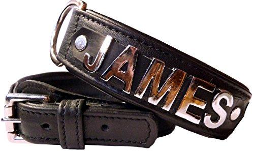 Dogs Stars Halsband mit Namen in Schwarz aus butterweichem Lammnappa