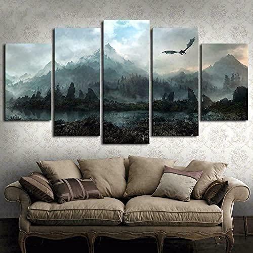 WHYQZ Canvas De 5 Pieza Lienzos Cuadros Juego de Tronos Dragón Montañas Skyrim Cuadros Decoracion 5 Piezas Cuadro De Pintura Póster De Arte Moderno Oficina Sala De Estar