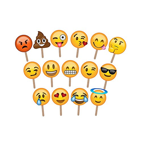 Emoji Photo Booth Props (Pack of 15)
