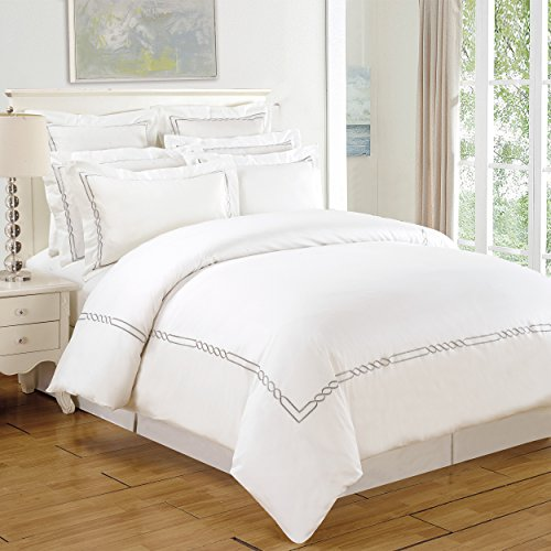 SUPERIOR Lorenz Embroidered Duvet Cover Set, Long-Staple Cotton, King/Cal King