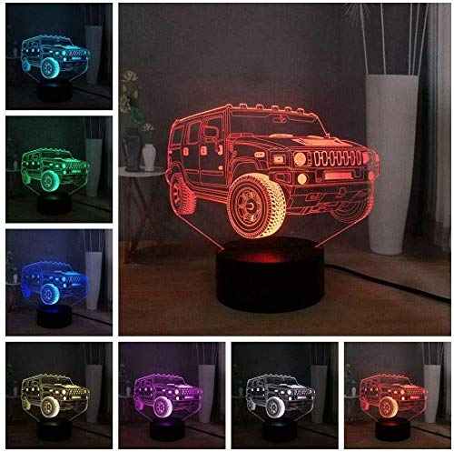 3D Night Light for Kids Night Light for Kids Jeep Carnival Light up Your Dreams for Bedroom Beside Table Decoration Perfect Gifts Birthday Festival with USB Charging, Colorful Color Change