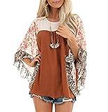 JOSUSY Womens Crew Neck Casual Pullover 3/4 Sleeve Boho Floral Blouses Loose Tops Shirt Sweatshirts Large Orange