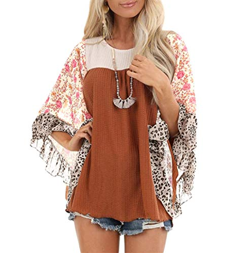 Material: Polyester + Spandex, soft and comfortable, easy to pull on Features: 3/4 batwing sleeve, chiffon floral dispatched, ruffled sleeve, color block, round neck,waffle pattern,looks fashionable and special, boho floral print enhance the stylish ...