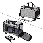 Coopeter Pet Carrier Stroller with Wheels for Travel and Outdoor,Easy to Fold,Durable Mesh Panels & Washable Fleece Mat … (Grey) 12