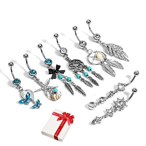 8 piezas de piercing de ombligo azul con colgante largo para mujer mujeres niña, anillo acero inoxidable plateado de 10mm longitud, cadena de perforación joyería del cuerpo con incrustaciones de CZ