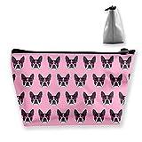 Bolsa cosmética portátil Gafas lindas de Boston Terrier Bolsa de almacenamiento trapezoidal de impresión multifuncional para mujer portátil 2419