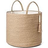 Mkono Woven Storage Basket Decorative Natural Rope Basket Wooden Bead Decoration for Blankets,Toys,Clothes,Shoes,Plant Organizer Bin with Handles Living Room Home Decor, Jute, 16' W × 13.8'L