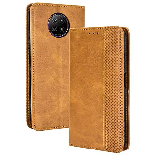 ALAMO Retro Klapp Hülle für Xiaomi Redmi Note 9T 5G, Premium PU Leder Handyhülle mit Kartenfächer & Geldbeutel - Braun