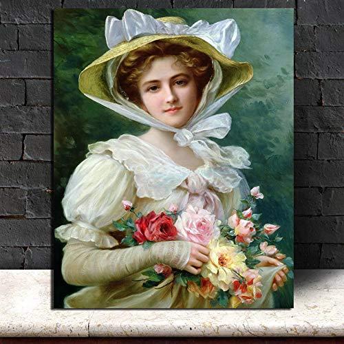 KWzEQ Famoso Pintor Belleza Lienzo Imagen Sala de Estar decoración del hogar Moderno Arte de la Pared Pintura al óleo póster,Pintura sin Marco,40x50cm