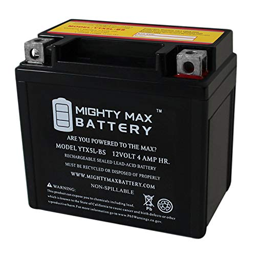 YTX5L-BS - 12V 4AH 80 CCA - SLA Power Sport Battery - Mighty Max Battery Brand Product (3416330)
