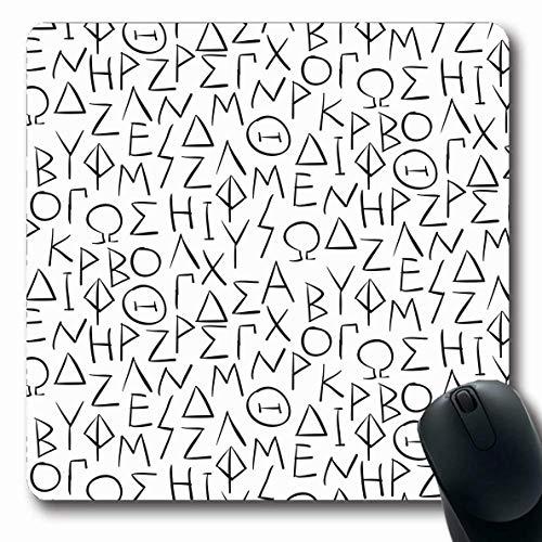 Alfombrilla para ratón Oblonga Griego Clásico Criptográfico Letras Educación abstracta en ABC Grecia Historia Alfabeto Edades Pared Alfa Alfombrilla de goma antideslizante para ratón Ordenador de ofic