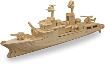 BestPysanky Navy Battleship Destroyer Boat Model Kit Wooden 3D Puzzle 13 Inches Long
