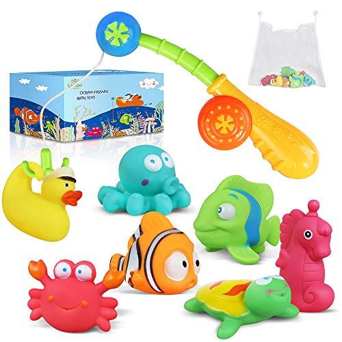 Lehoo Castle Badespielzeug Baby ab 1 Jahr, Wasserspielzeug Badewanne mit Aufbewahrungsnetz und Angelrute, Wasserspiel Entchen Schwimmenden Badewannenspielzeug , 9pcs Ozean Tier Badewannen Spielzeug