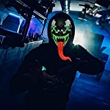 Halloween Scary Mask Cosplay Led - LED Light up Masks Scary Purge Mask 3 Modes Adjustable Holiday Masquerade Cosplay Halloween Festival Party (Red-tongue)