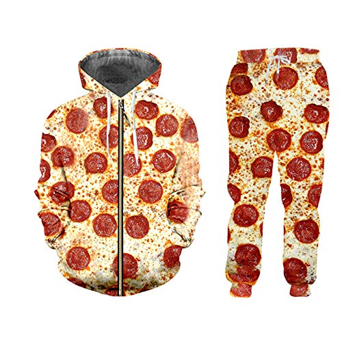 DIONGS Casual Party 3D Funny Pizza Print Men's Sets Winter Reißverschluss Hoodies Jogginghosen Jogger Anzug ZHPAL0322 XXXL