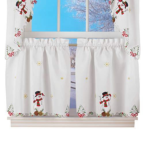 "Collections Etc Snowman Cardinal Window Curtain Christmas Decoration, 24"" L Tiers"