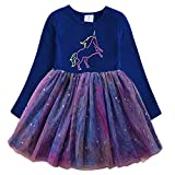 DXTON Baby Girl Tutu Winter Long Sleeves Dresses Flower Toddler Cotton Outfits LH4993-6T