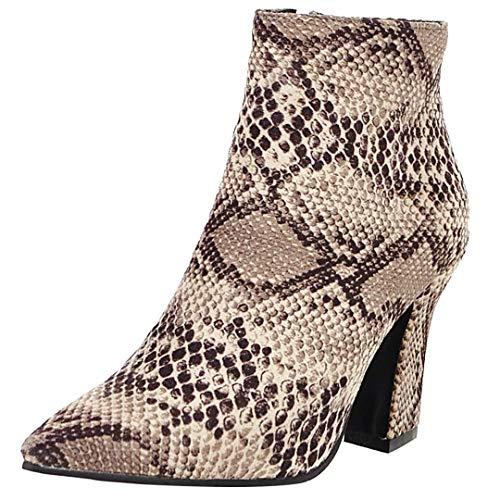 JYshoes High Heels Stiefeletten Spitz Ankle Boots mit Blockabsatz und Schlangenmuster Samt Stiefel...
