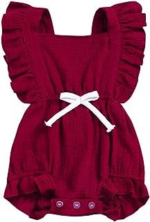 GSHOOTS Baby Girls' Ruffle Romper Newborn Sleeveless Onesie Infant Flutter Sleeve Bodysuit Linen Jumpsuit