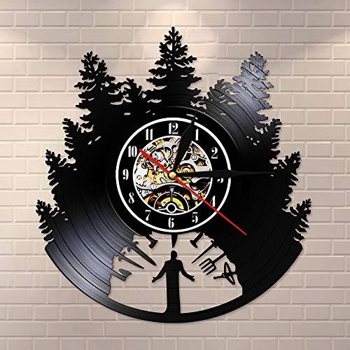 BFMBCHDJ Gartengeräte Bauernhaus Stil Vintage Vinyl Schallplatte Wanduhr Garten Vinyl Schallplatte Uhr Bauern Küche Dekor Zeituhr