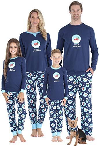 Sleepyheads Conjuntos de Pijamas navideños de Navidad con el Mundo de Las Maravillas del Mundo de Nieve