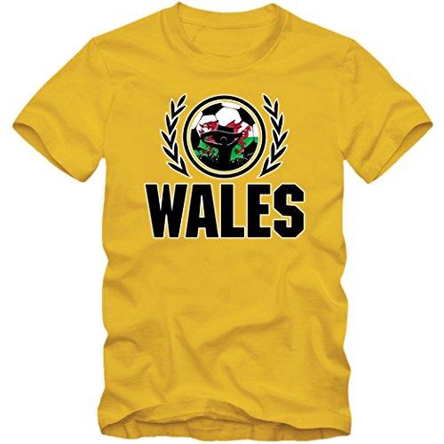 Wales WM 2018#2 T-Shirt | Fußball | Herren | Trikot | The Dragons | Nationalmannschaft | S-5XL, Farbe:Gelb (Gold L190);Größe:XXL