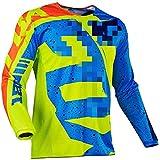 Maillot de Manga Larga para Hombre Traje de Descenso al Aire Libre, Ciclismo Tops MTB Transpirable de Secado rápido Motocross Jersey, Camisa de Bicicleta de montaña Ropa de Carreras (Verde,M)