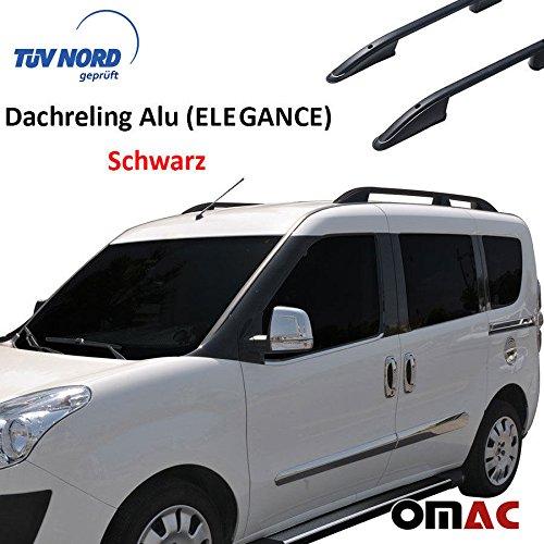 OMAC Barras de techo de aluminio negro para Doblo 2010-2020, portaequipajes con TÜV ABE específico para vehículo