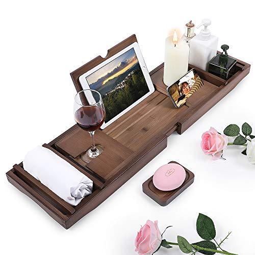 Aufworld Bandejas Bañera Organizador Extensible de Bambú con Soporte para Teléfono Book Wine Glass para Baño de Lujo (75-110cm)