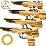 Gejoy 4 Packung Gummiband Pistole Spielzeug Einfaches Laden Holz und Handgefertigtes Spielzeug...