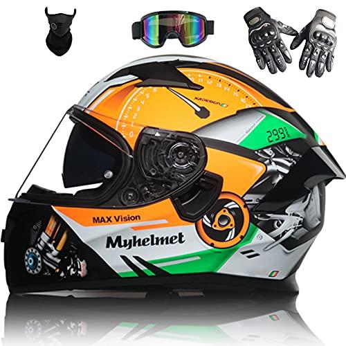 Casco de Motocicleta Unisex de Cara Completa Aprobado Por Dot Ece Moto...