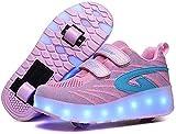 LBWT, pattini a rotelle classici a LED per bambini, a doppia ruota, a LED, lampeggianti, luminosi, per bambini, ragazzi e ragazze (colore: rosa, taglia: 2 UK/35 EU)