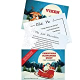 CHRISTMAS TREASURE HUNT GAME - Christmas Games Scavenger Hunt Quest - 10 postcard sized Clues for Family Christmas Fun - Xmas Eve Box - Elf on a Shelf Arrival - Christmas Eve Box Fillers