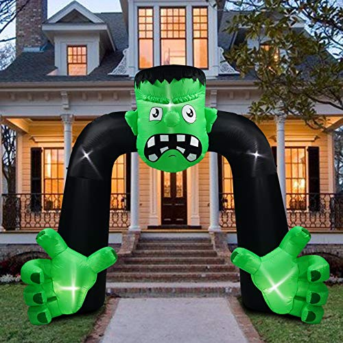 B.N.X 9 Ft Halloween Inflatable Franky Arch Decoration with LED Light Frankenstein Inflatables for Home Yard Lawn Indoor Outdoor